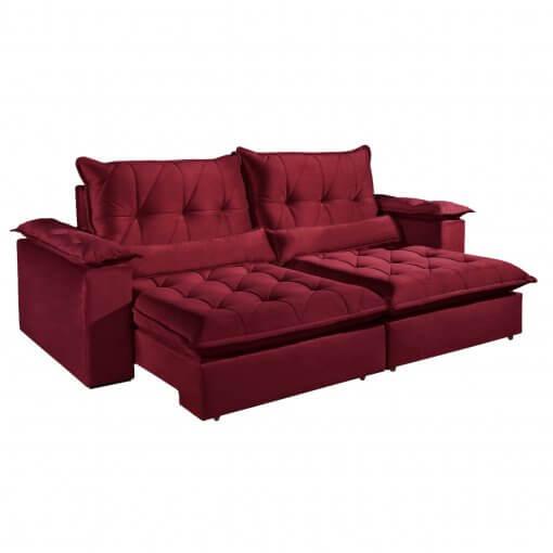 Sofa com Molas Ensacadas 4 Lugares Retratil e Reclinavel Italia Tecido Veludo 250cm Bordo