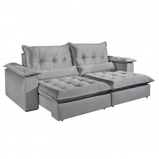 Sofa com Molas Ensacadas 4 Lugares Retratil e Reclinavel Italia Tecido Veludo 250cm Cinza