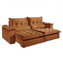 Sofa com Molas Ensacadas 4 Lugares Retratil e Reclinavel Italia Tecido Veludo 250cm Ferrugem