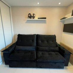 Sofa com Molas Ensacadas 4 Lugares Retratil e Reclinavel Italia Tecido Veludo 250cm Foto Real