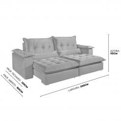Sofa com Molas Ensacadas 4 Lugares Retratil e Reclinavel Italia Tecido Veludo 250cm Medidas