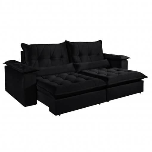 Sofa com Molas Ensacadas 4 Lugares Retratil e Reclinavel Italia Tecido Veludo 250cm Preto