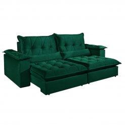 Sofa com Molas Ensacadas 4 Lugares Retratil e Reclinavel Italia Tecido Veludo 250cm Verde