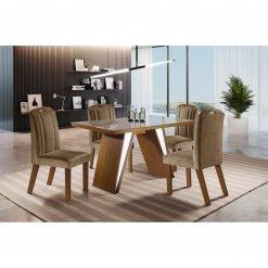 Mesa de Jantar com 4 Cadeiras Ravena Castanho Premium Off White 120×80