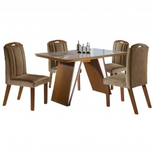 Mesa de Jantar com 4 Cadeiras Ravena Castanho Premium Off White