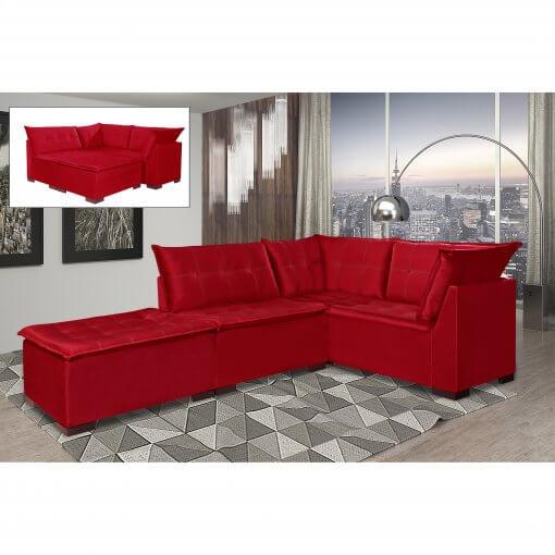 Sofa de Canto Saturno Aifos Estofados Vermelho