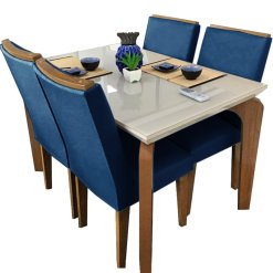 Mesa de Jantar 4 cadeiras Londrina Azul