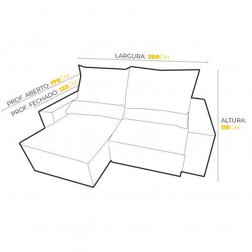 Sofa 3 Lugares Top Luxo Retratil e Reclinavel com Tecido Veludo Medidas 200cm