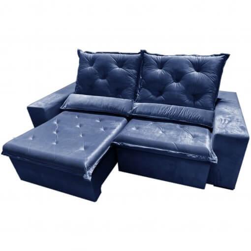 Sofa Top Luxo Retratil e Reclinavel com Tecido Veludo Azul