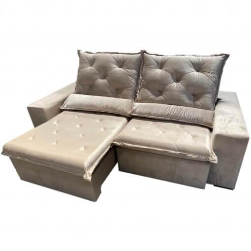 Sofa Top Luxo Retratil e Reclinavel com Tecido Veludo Bege
