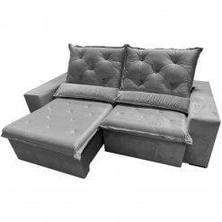 Sofa Top Luxo Retratil e Reclinavel com Tecido Veludo Cinza