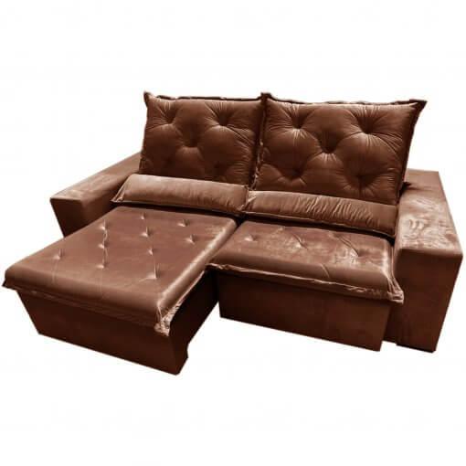 Sofa Top Luxo Retratil e Reclinavel com Tecido Veludo Marrom