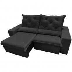 Sofa Top Luxo Retratil e Reclinavel com Tecido Veludo Preto