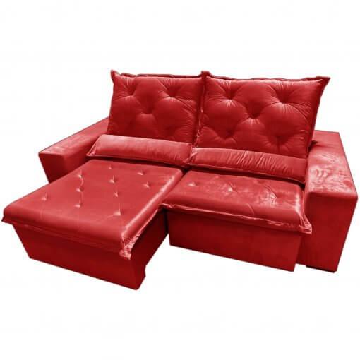 Sofa Top Luxo Retratil e Reclinavel com Tecido Veludo Vermelho