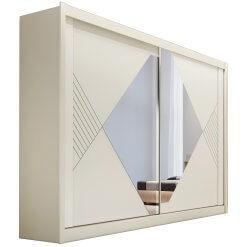 Guarda Roupa Casal com Espelho 2 Portas 4 Gavetas Santorini Off White